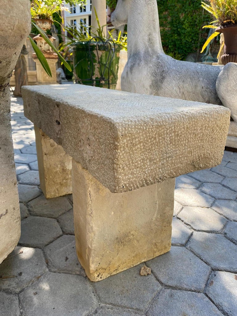 Pair Hand Carved Stone Garden Benches simple Seat Decorative antique bench LA CA For Sale 3