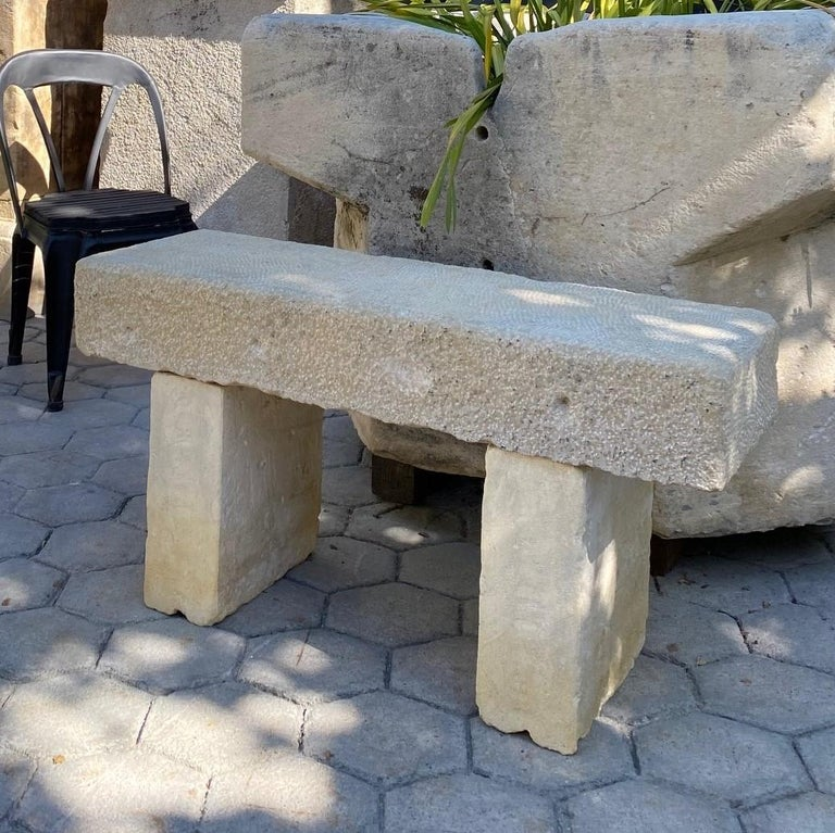 Pair Hand Carved Stone Garden Benches simple Seat Decorative antique bench LA CA For Sale 4