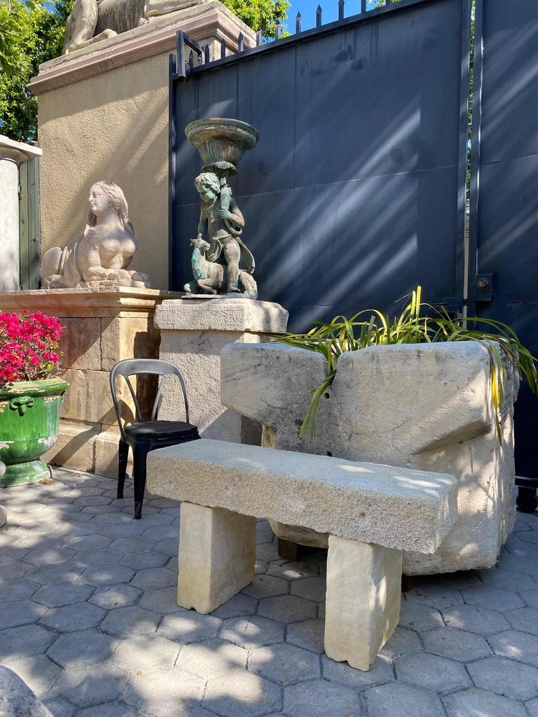 Pair Hand Carved Stone Garden Benches simple Seat Decorative antique bench LA CA For Sale 5