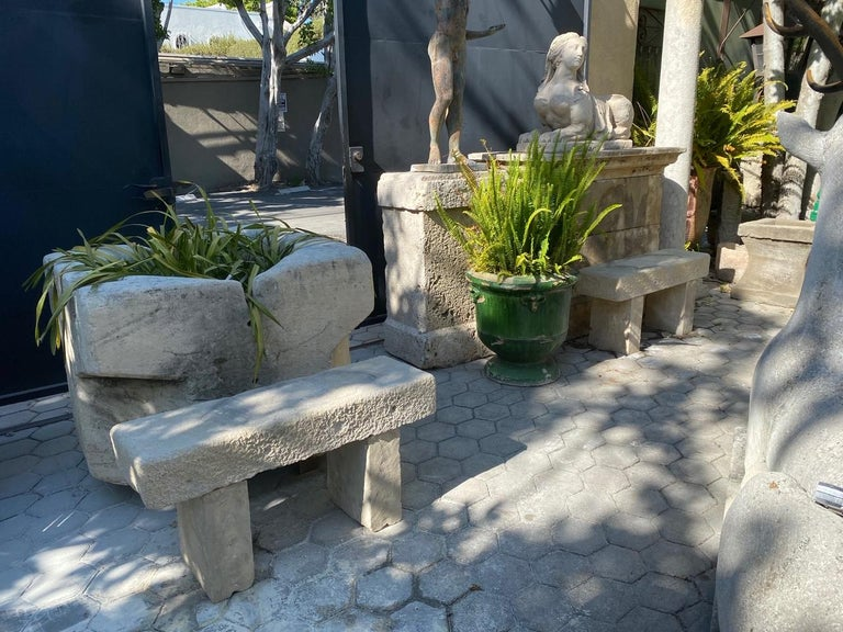 Hand-Carved Pair Hand Carved Stone Garden Benches simple Seat Decorative antique bench LA CA For Sale