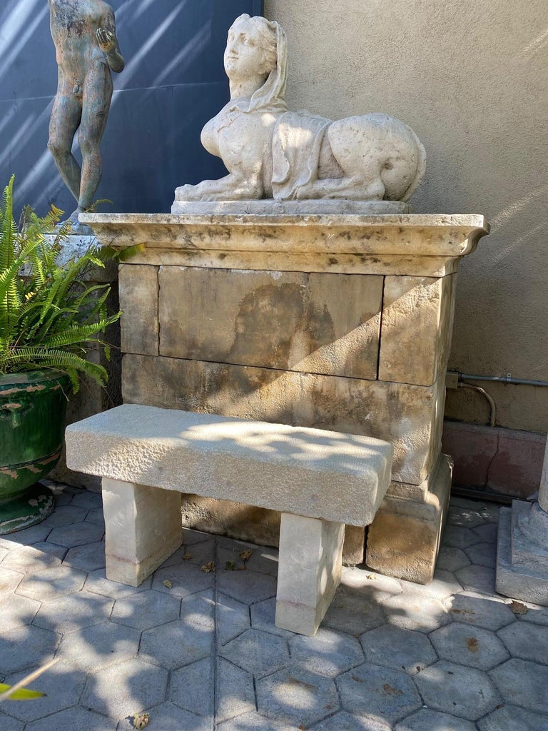 Pair Hand Carved Stone Garden Benches simple Seat Decorative antique bench LA CA In Good Condition For Sale In West Hollywood, CA