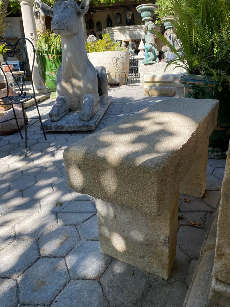 20th Century Pair Hand Carved Stone Garden Benches simple Seat Decorative antique bench LA CA For Sale