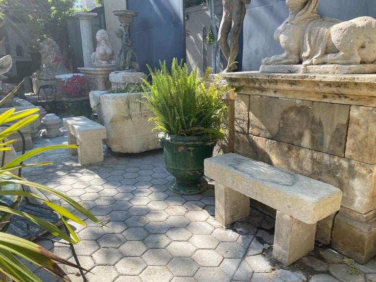Pair Hand Carved Stone Garden Benches simple Seat Decorative antique bench LA CA For Sale 1