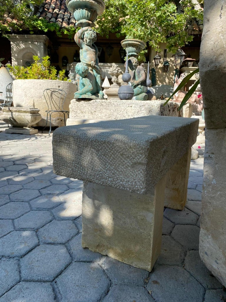 Pair Hand Carved Stone Garden Benches simple Seat Decorative antique bench LA CA For Sale 2