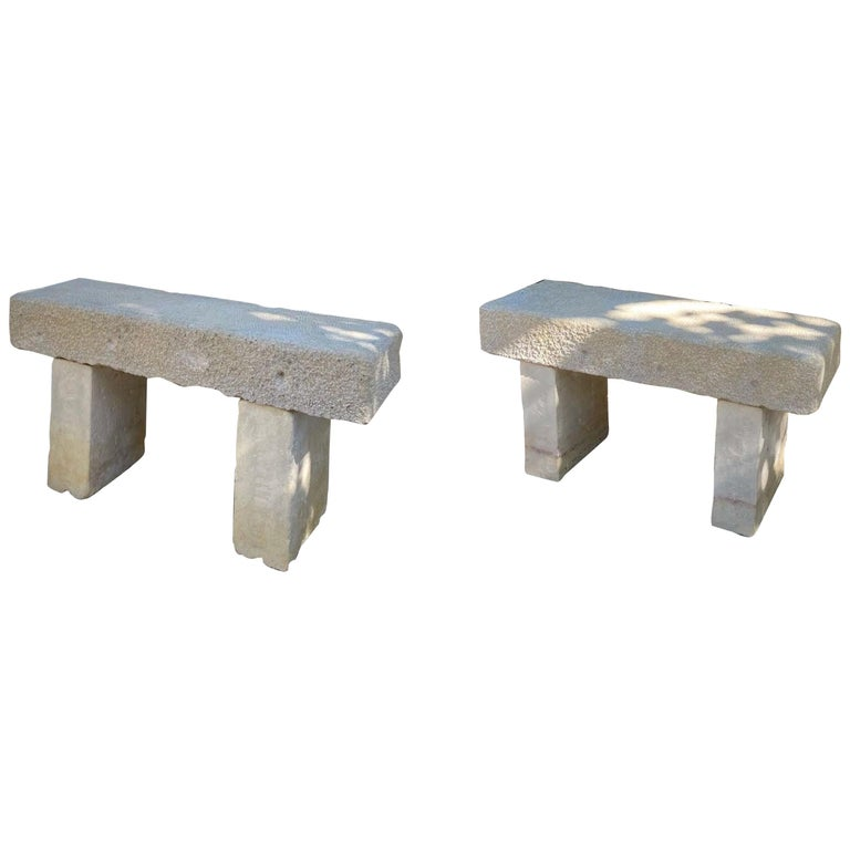 Pair Hand Carved Stone Garden Benches simple Seat Decorative antique bench LA CA For Sale