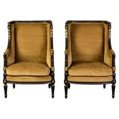 Pair 19th C Louis XVI Style Ebonised High Back Upholstered Bergeres with Gilt