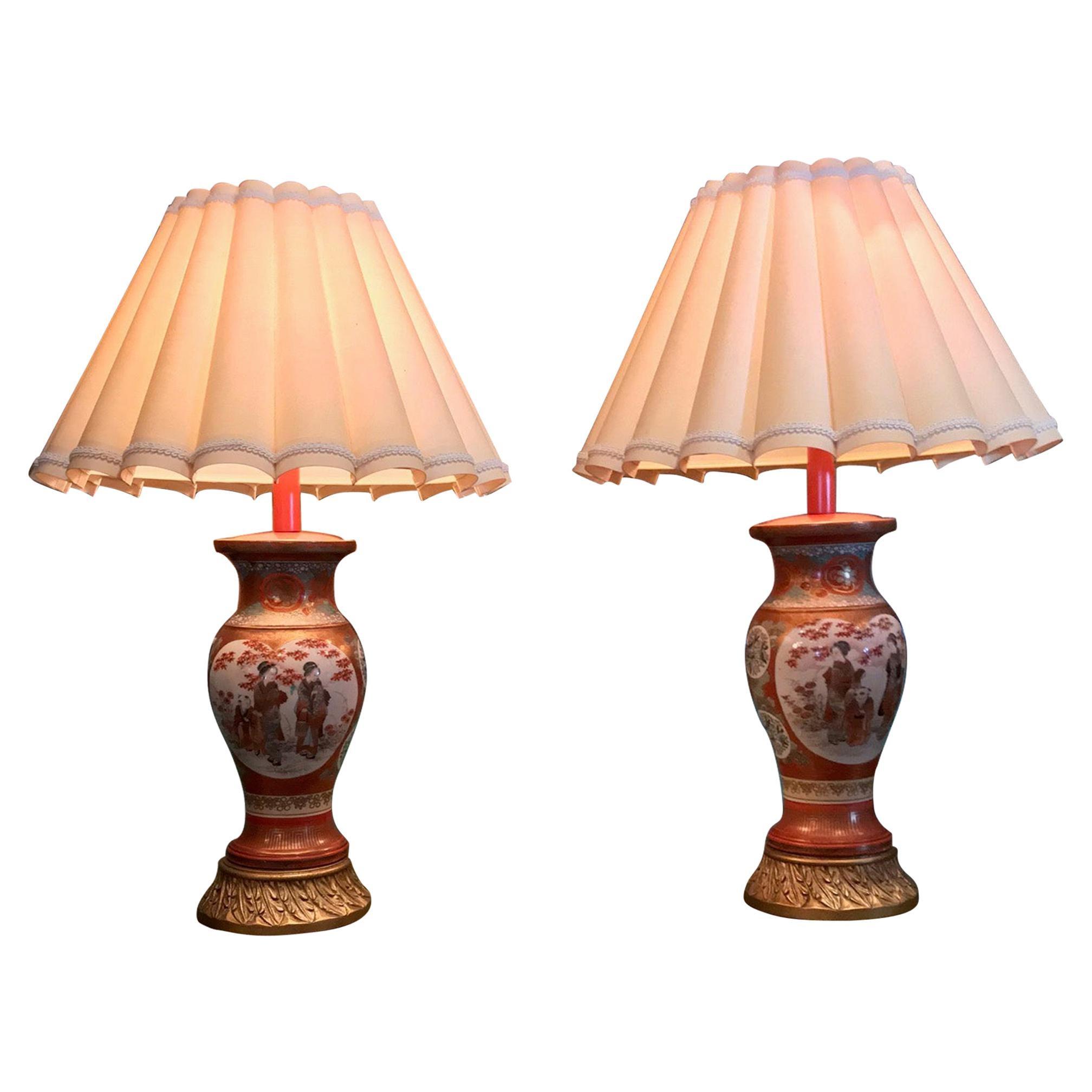 Pair of Kutani Meiji Period Vases Porcelain Urns Table Lamps Antiques LA light