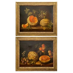 Pair 19th C Spanish Paintings, Still Life with Melon After Spadino