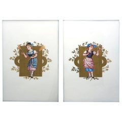 Pair 19th c. Wedgwood Aesthetic Movement Porcelain Plaques Thomas Allen