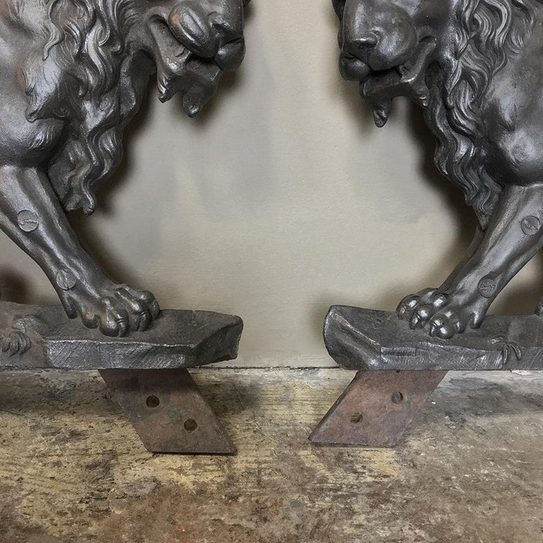 Pair of 19th Century Architectural Cast Iron Lion Statues For Sale 4
