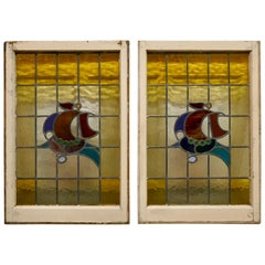 Pair of 19th Century Art Nouveau Stained Glass Windows, with Ships
