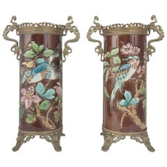 Pair of 19th Century Barbotine Vases with Bronze Mounts