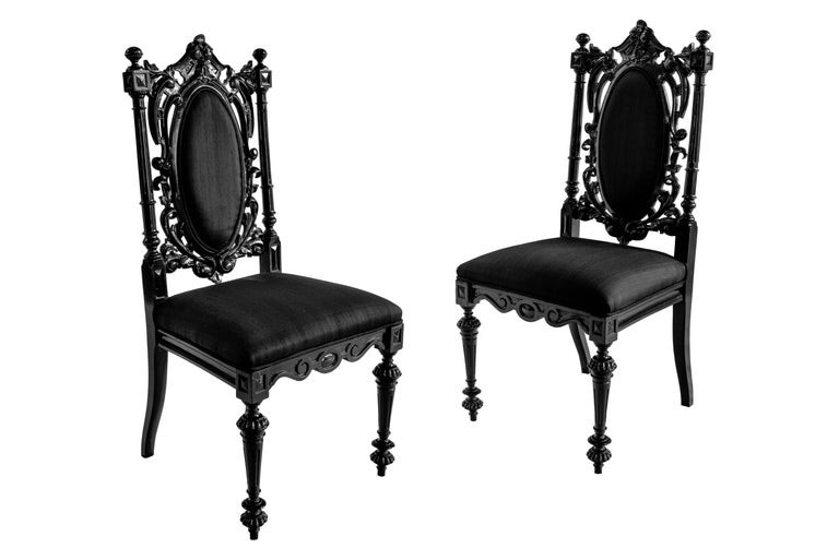 Portuguese Pair 19th Century Black Lacquered Baroque Wood Chairs with Silk Upholstery, 1890 For Sale