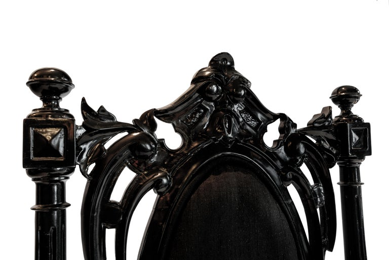 Late 19th Century Pair 19th Century Black Lacquered Baroque Wood Chairs with Silk Upholstery, 1890 For Sale