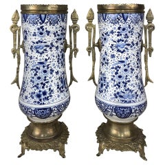 Pair of 19th Century Blue and White Delft Vases with Brass