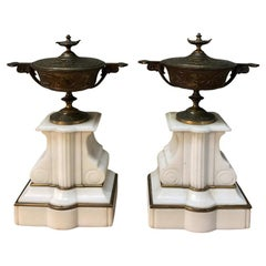 Pair 19th Century Bronze and Carrara Marble Cassolettes