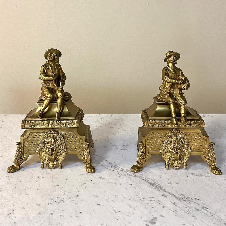 European Pair of 19th Century Bronze Andiron Bookends For Sale