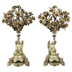 Pair of 19th Century Bronze Candlesticks with Angels, Napoleon III Period