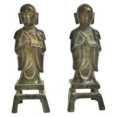 Pair 19th Century Bronze Monk Statues