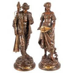 Pair of 19th Century Bronze Musicians, 49cm high