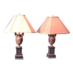 Pair 19th century Bronze Urn Lamps