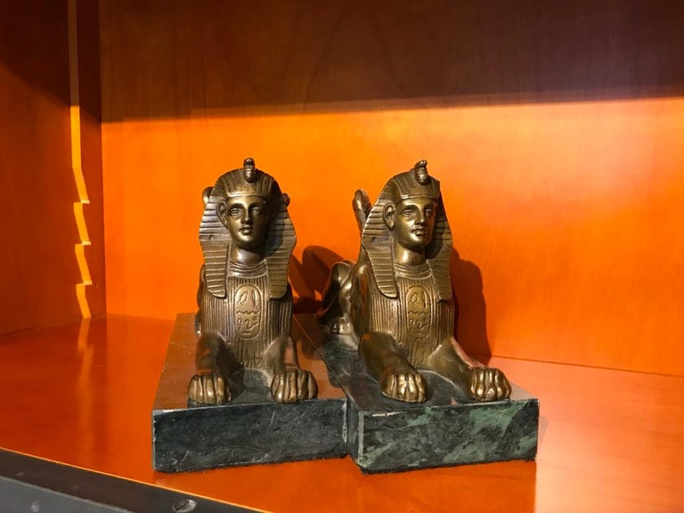 Pair of 19th Century Bronze Winged Sphinx on Marble Bases For Sale 10