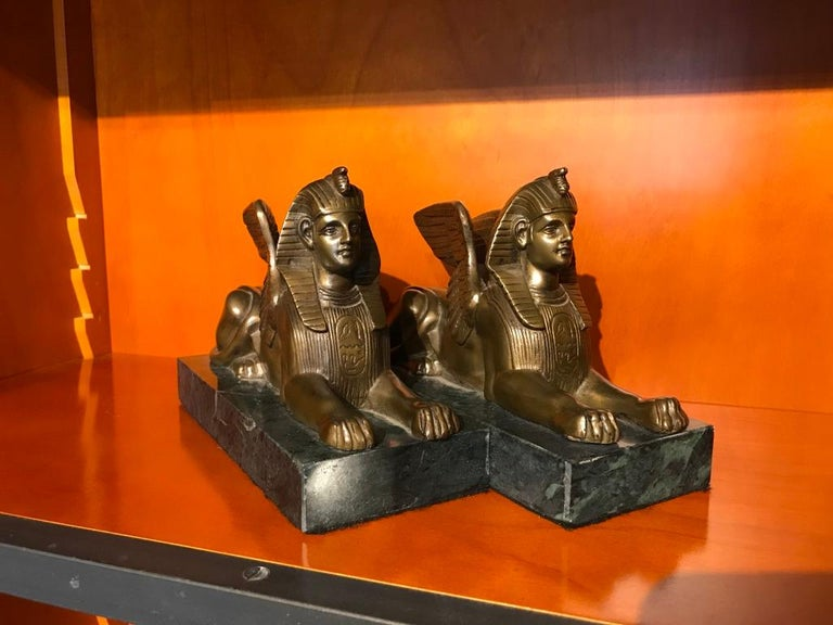 Pair of 19th Century Bronze Winged Sphinx on Marble Bases For Sale 13