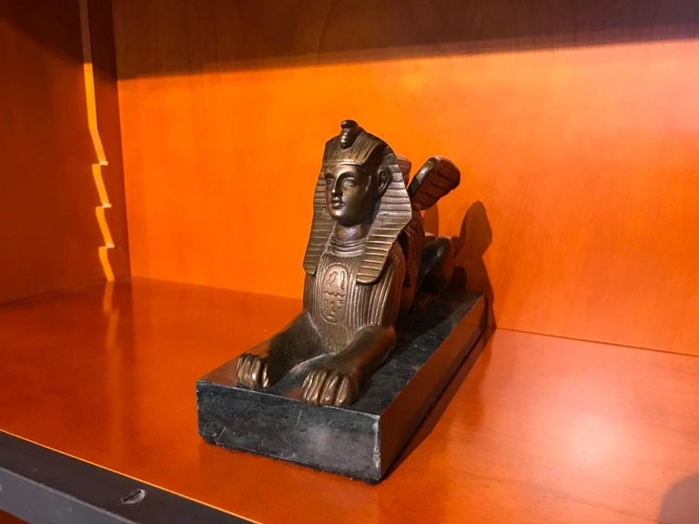 Pair of 19th Century Bronze Winged Sphinx on Marble Bases In Excellent Condition For Sale In Stamford, CT
