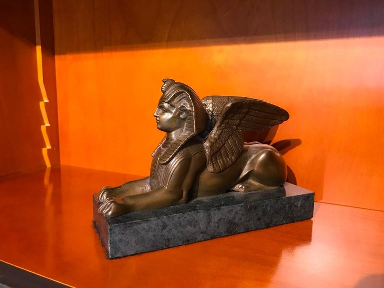 Pair of 19th Century Bronze Winged Sphinx on Marble Bases For Sale 1