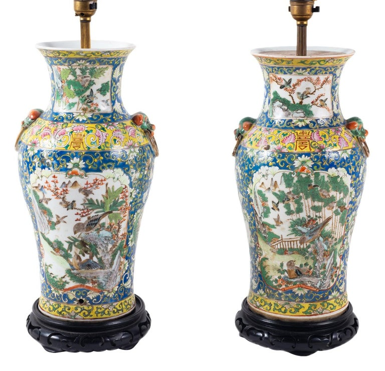 Pair of 19th Century Chinese Cantonese Porcelain Vases Lamps For Sale 5
