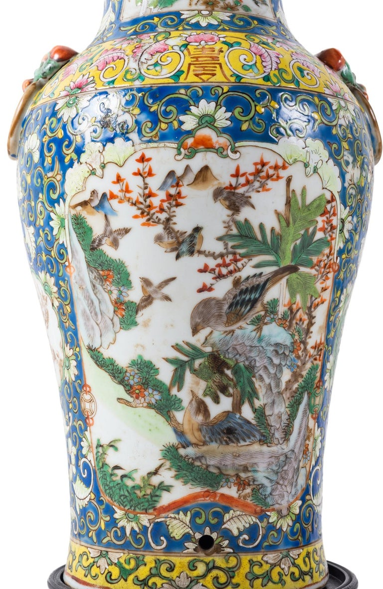 Pair of 19th Century Chinese Cantonese Porcelain Vases Lamps For Sale 6