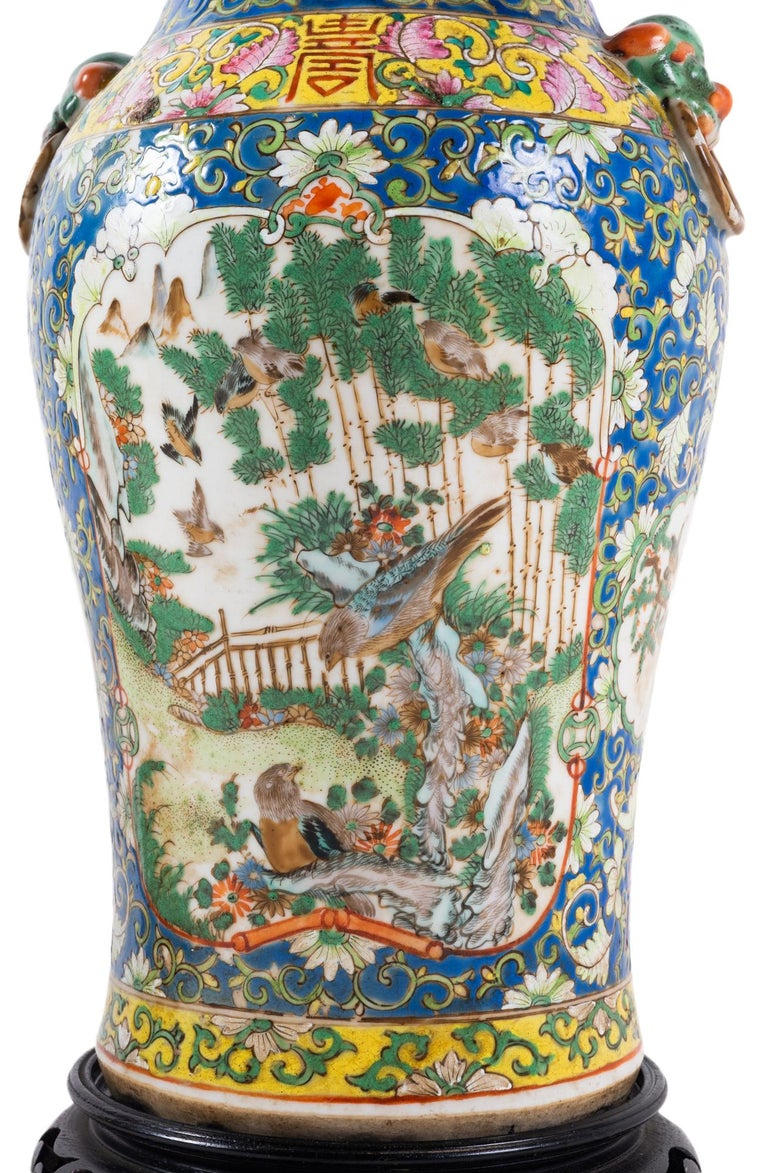 Pair of 19th Century Chinese Cantonese Porcelain Vases Lamps For Sale 7