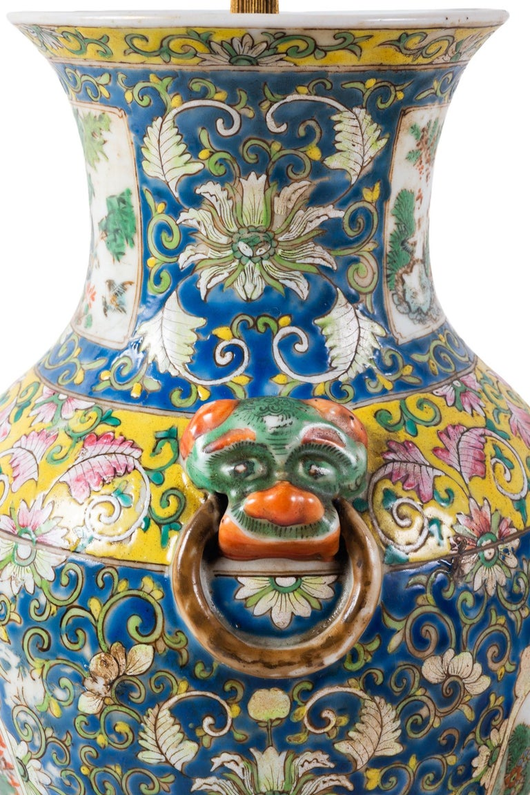 Pair of 19th Century Chinese Cantonese Porcelain Vases Lamps For Sale 10
