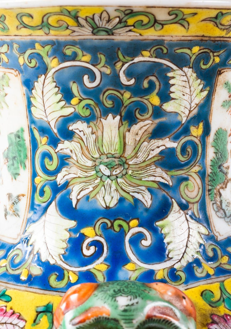 Pair of 19th Century Chinese Cantonese Porcelain Vases Lamps For Sale 11