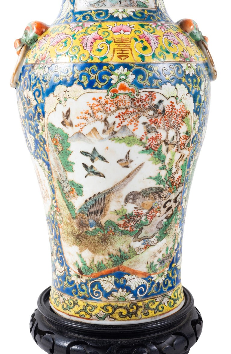 Chinese Export Pair of 19th Century Chinese Cantonese Porcelain Vases Lamps For Sale