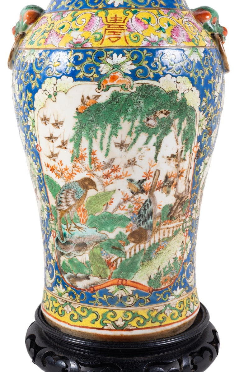 Hand-Painted Pair of 19th Century Chinese Cantonese Porcelain Vases Lamps For Sale