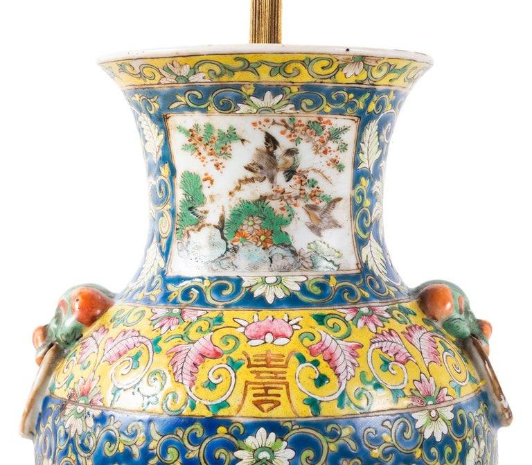 Pair of 19th Century Chinese Cantonese Porcelain Vases Lamps In Good Condition For Sale In Brighton, Sussex