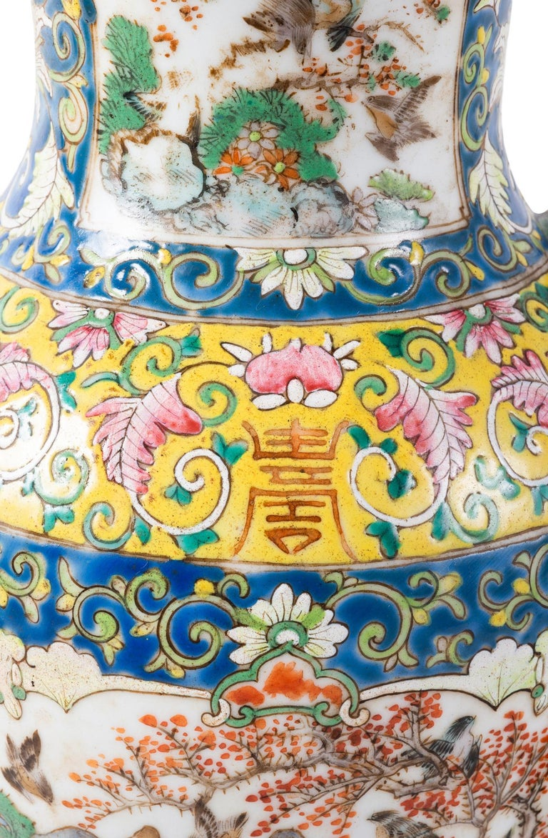 Pair of 19th Century Chinese Cantonese Porcelain Vases Lamps For Sale 1
