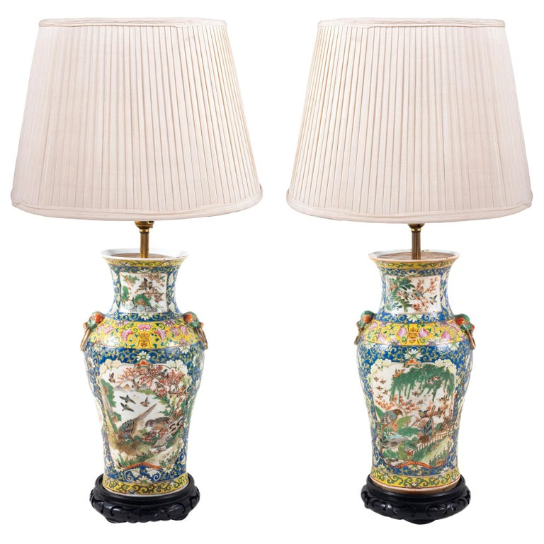 Pair of 19th Century Chinese Cantonese Porcelain Vases Lamps For Sale