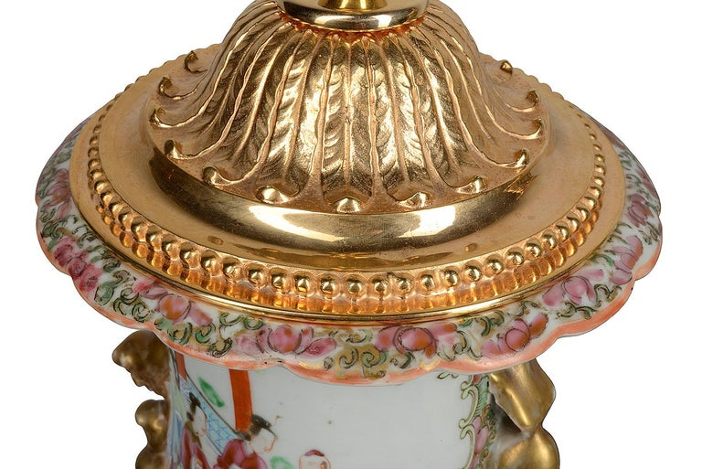 Chinese Export Pair of 19th Century Chinese Cantonese / Rose Medallion Vases/ Lamps For Sale