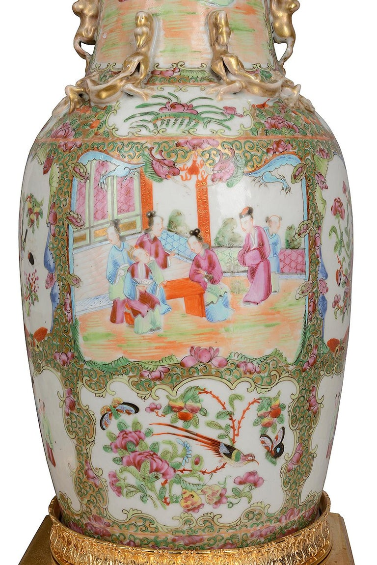Hand-Painted Pair of 19th Century Chinese Cantonese / Rose Medallion Vases/ Lamps For Sale