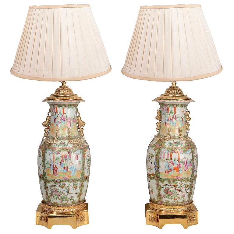 Pair of 19th Century Chinese Cantonese / Rose Medallion Vases/ Lamps For Sale