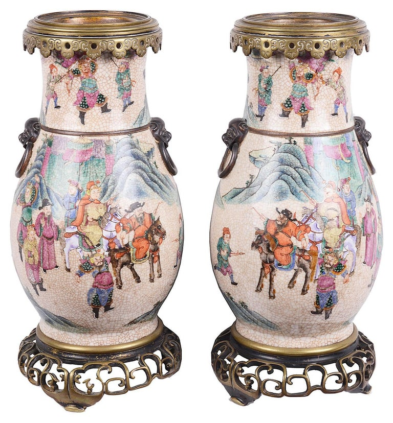 Pair of 19th Century Chinese Crackelware Vases / Lamps In Excellent Condition For Sale In Brighton, Sussex
