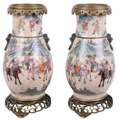 Pair of 19th Century Chinese Crackelware Vases / Lamps