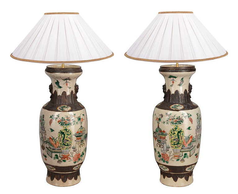 Pair of 19th Century Chinese Crackle-Ware Vases / Lamps For Sale 4