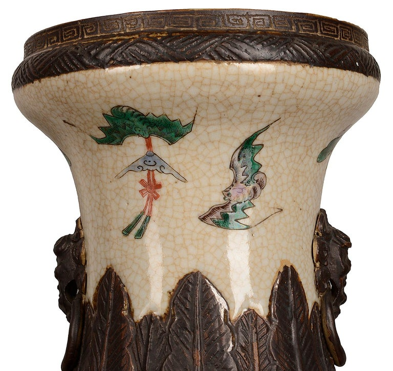 Hand-Painted Pair of 19th Century Chinese Crackle-Ware Vases / Lamps For Sale