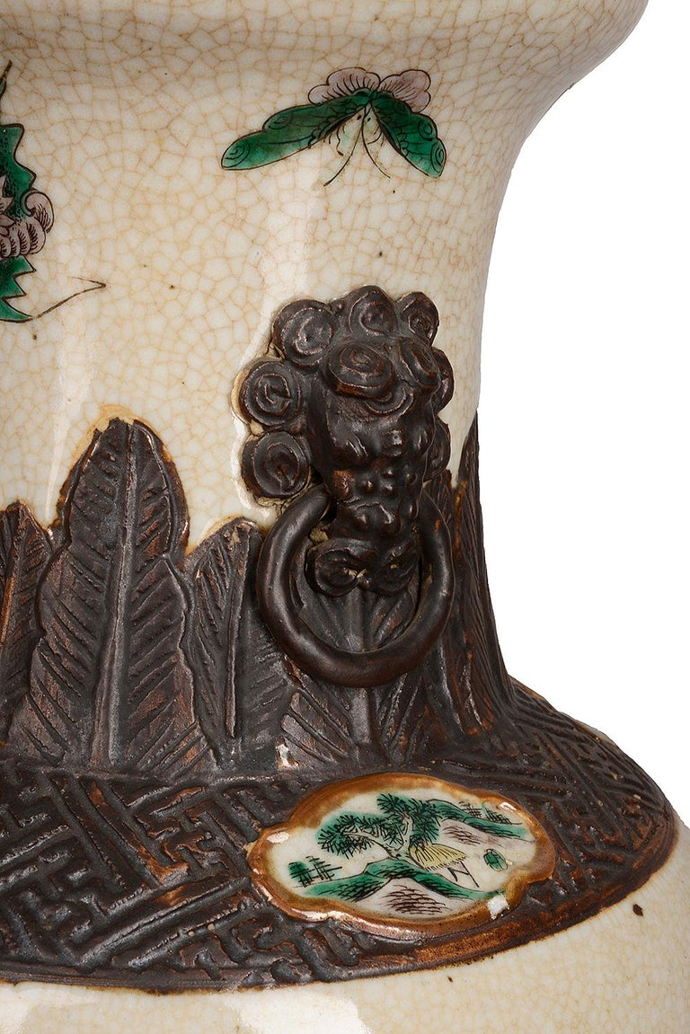 Pair of 19th Century Chinese Crackle-Ware Vases / Lamps In Good Condition For Sale In Brighton, Sussex