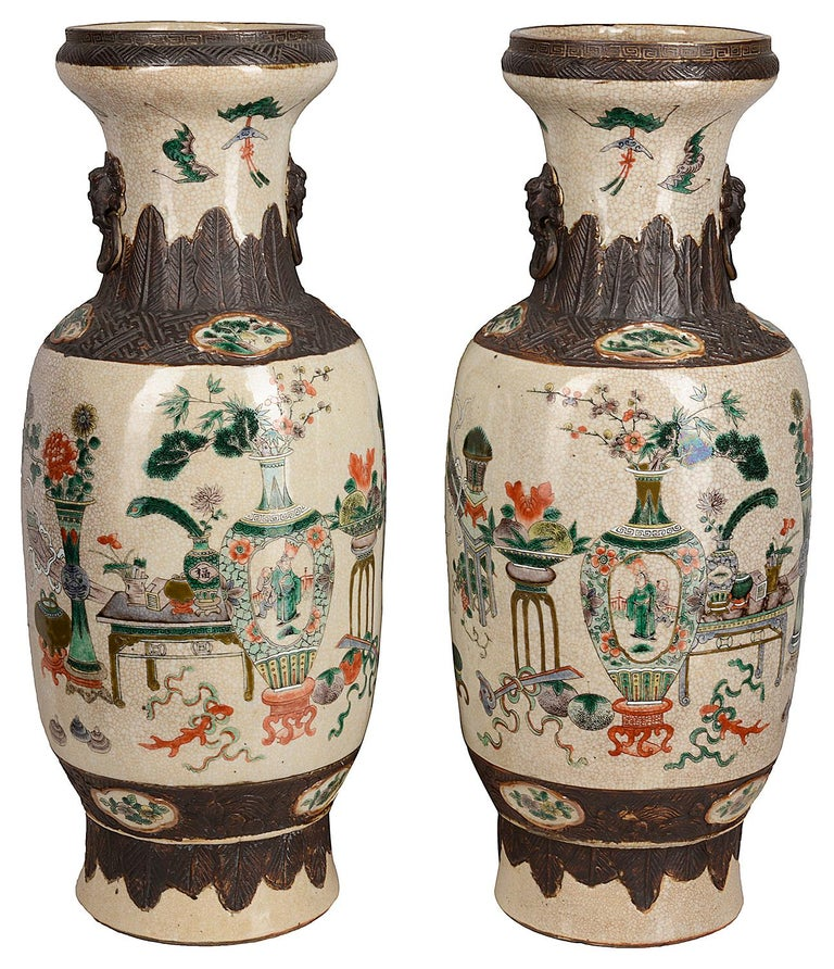 Porcelain Pair of 19th Century Chinese Crackle-Ware Vases / Lamps For Sale