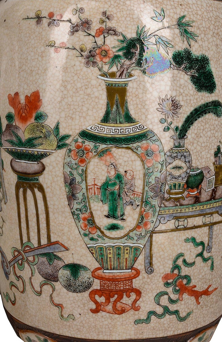 Pair of 19th Century Chinese Crackle-Ware Vases / Lamps For Sale 1