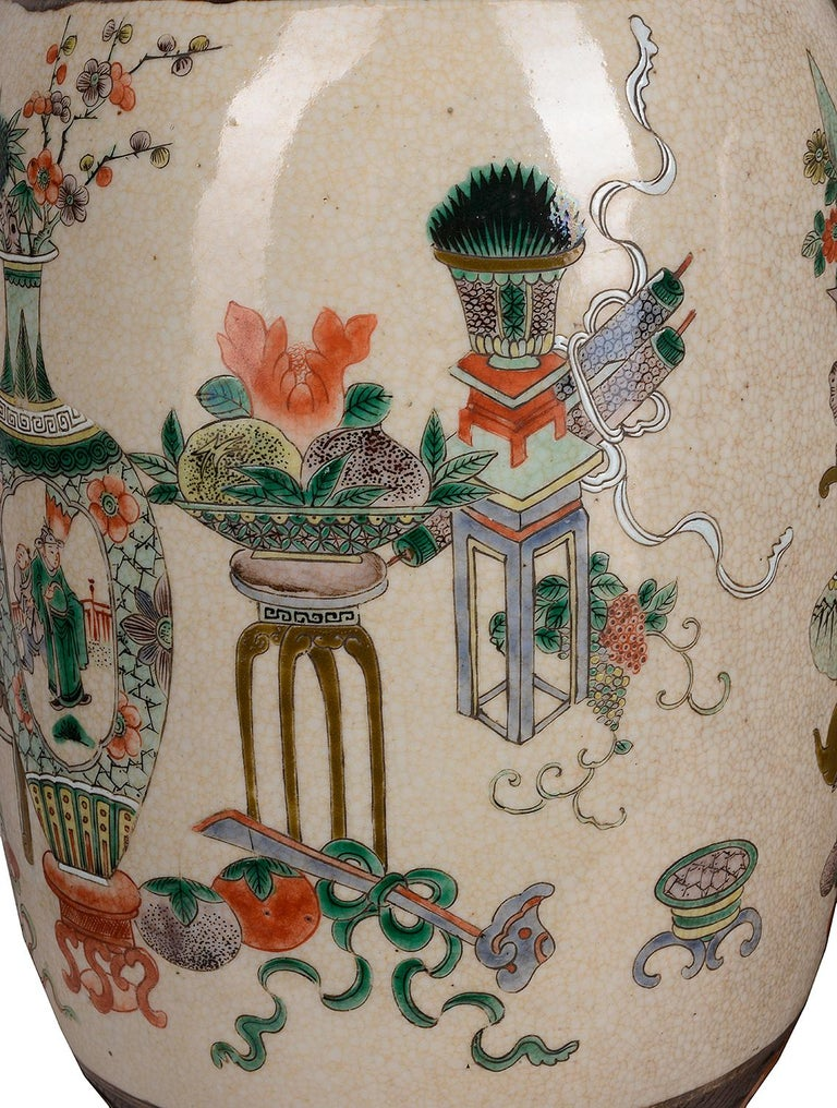 Pair of 19th Century Chinese Crackle-Ware Vases / Lamps For Sale 2